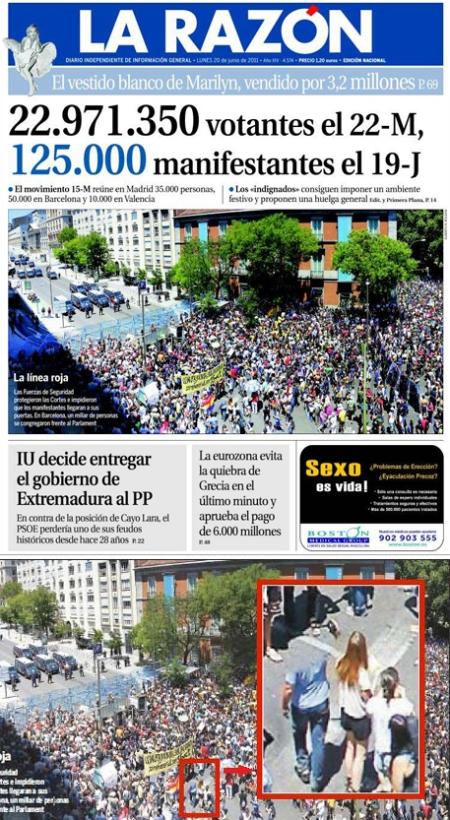 La-Razón-15M, portada La Razón 15 M, portada La Razón borrar gente, portada La Razón borrar gente 15 M, portada La Razón borrar indignados, portada La Razón retoque photoshop, katanga73, katanga73.wordpress.com, katarama